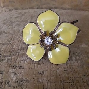 Jewelry - Yellow Enamel Flower Cuff Bracelet